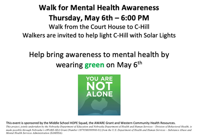 Mental Health Awareness Walk In Chadron To Light C-Hill